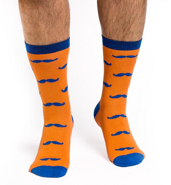 MUSTATI barbati 1/2 portocaliu-albastru