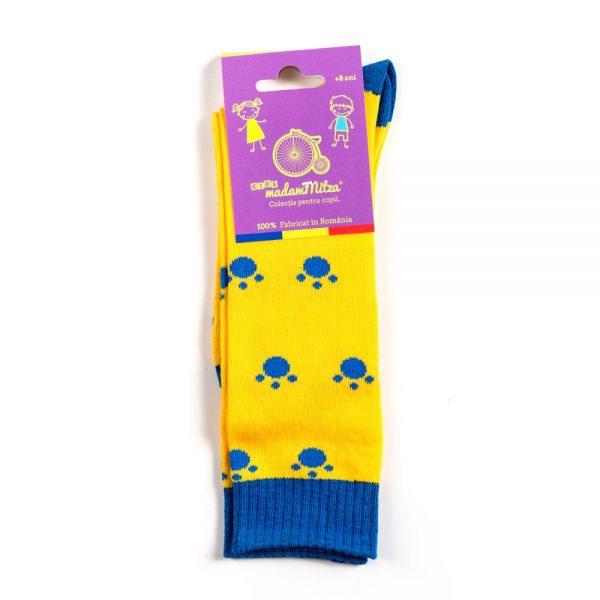 sosete copii labute de pisica galben si albastru